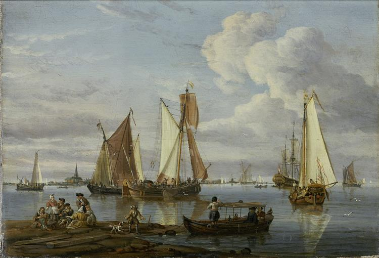 Dutch Shipping in An Estuary - Abraham Storck