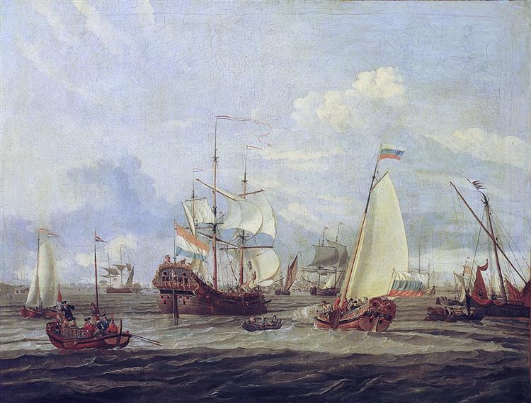 Peter Der Große Inspiziert Ein Schiff Bei Amsterdam, 1700 - Abraham Storck