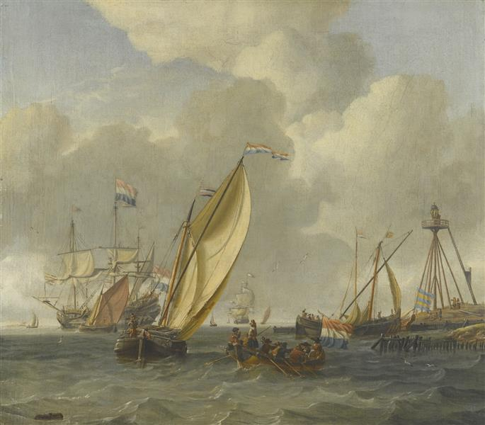 Dutch Ships on Choppy Coastal Waters by a Spit of Land with a Beacon - Abraham Storck