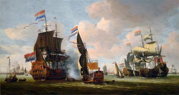 Die Niederländische Flotte Auf Der Reede Vor Amsterdam - Abraham Storck