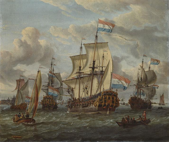 Het Fregat Pieter En Paul Op Het Ij-het Met Medewerking Van Czaar Peter De Grote in Januari 1698 Voltooide Fregat Pieter En Paul Op Het Ij-the Frigate 'peter and Paul' on the River Ij, 1700 - Abraham Storck