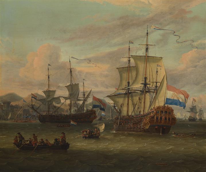 Hollandse Straatvaarders Bij Een Haven Aan De Middellandse Zee-hollandse Straatvaarders Bij Een Middellandse-zeehaven-zeegezicht - Abraham Storck