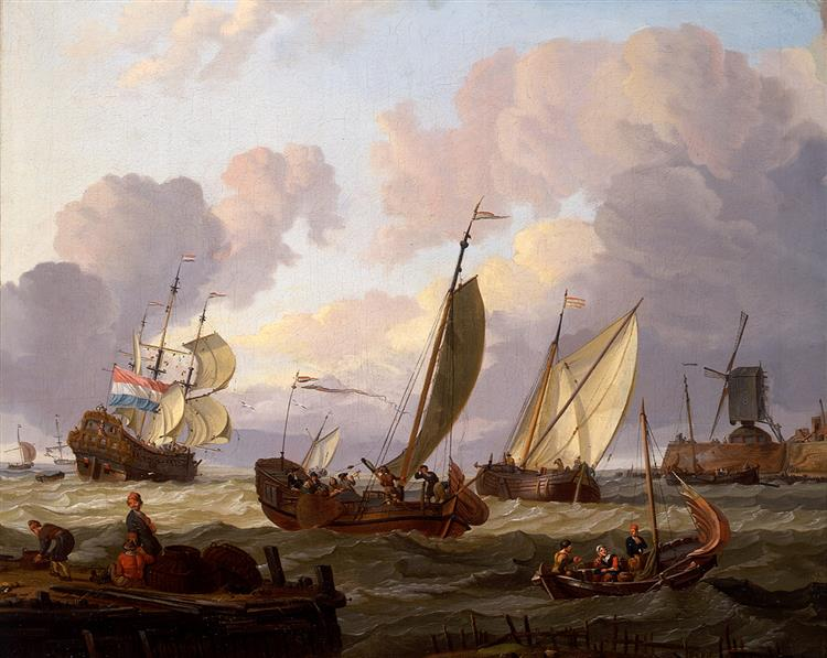 Ships Passing a Windmill - Abraham Storck