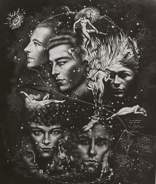 Portraits of Paul Eluard, André Breton, Tristan Tzara, René Char, Benjamin Péret, René Crevel, 1932 - Valentine Hugo