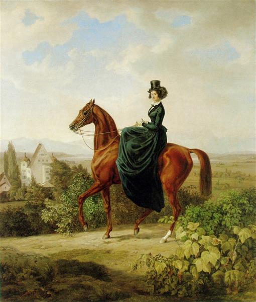 Countess Caroline von Waldbott-Bassenheim, b. Oettingen-Wallerstein on horseback on a hill near Leutstetten; in the background Leutstetten Castle, c.1855 - Albrecht Adam