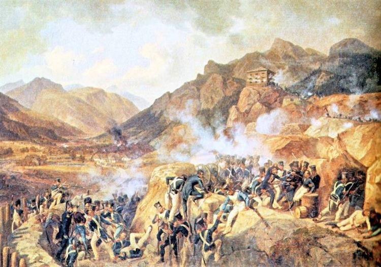 Capture of Fort Malborghetto on May 17, 1809 by the Franco-Italian army of Eugene De Beauharnais. The Austrian Garrison, Under the Orders of Captain Friedrich Hensel, Is Entirely Killed Or Made Prisoner, 1843 - Albrecht Adam
