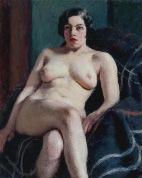 Nude Seated on a Green Rug, 1915 - Roderic O'Conor