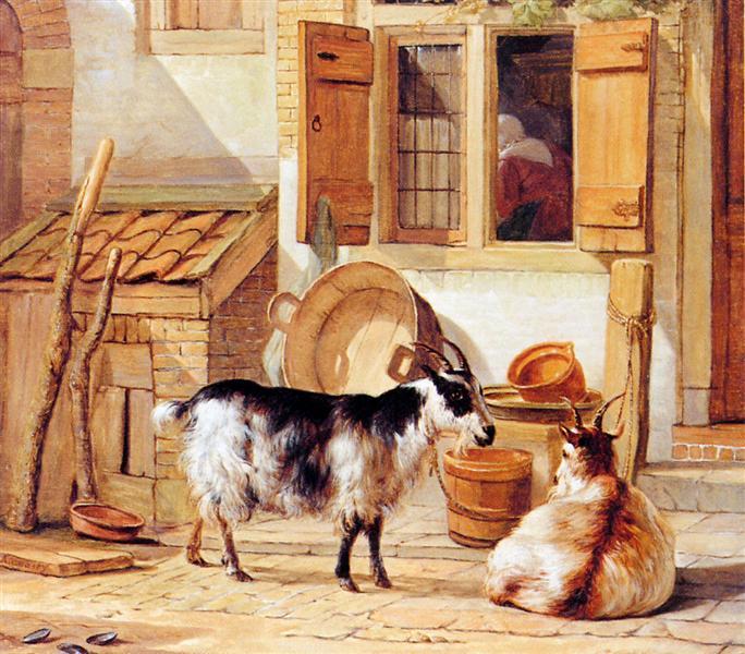 Two goats in a yard - Abraham van Strij