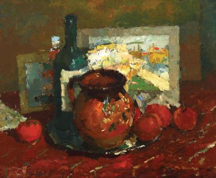 Still Life With Red Pot and Apples - Adam Baltatu