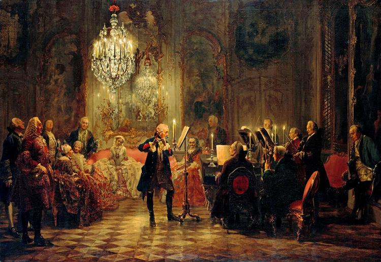 Flute Concert with Frederick the Great in Sanssouci, 1852 - Adolph Menzel