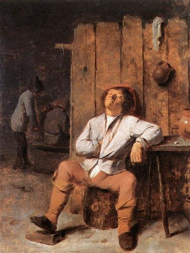 A Boor Asleep - Adriaen Brouwer