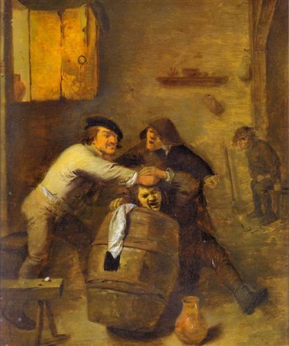 Peasants Quarrelling in an Interior - Adriaen Brouwer
