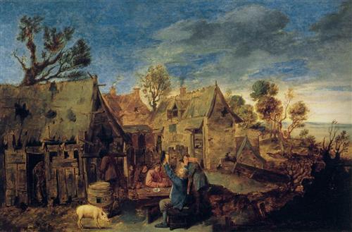 Village Scene with Men Drinking - Adriaen Brouwer
