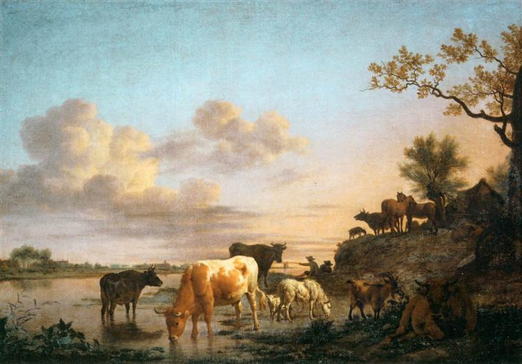 Animals by the River, 1664 - Adriaen van de Velde