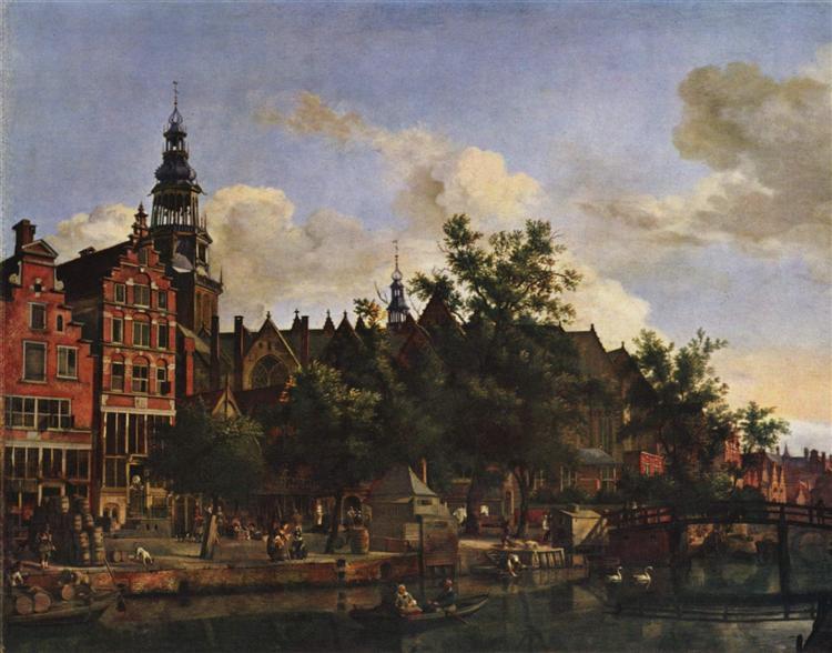 View of Oudezijds Voorburgwal with the Oude Kerk in Amsterdam, c.1670 - Adriaen van de Velde
