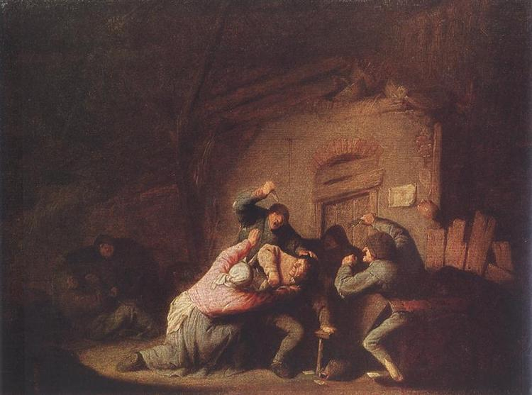 A Fight, c.1635 - Adriaen van Ostade