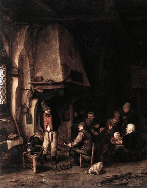 Interior of a Farmhouse with Skaters, 1650 - Адриан ван Остаде