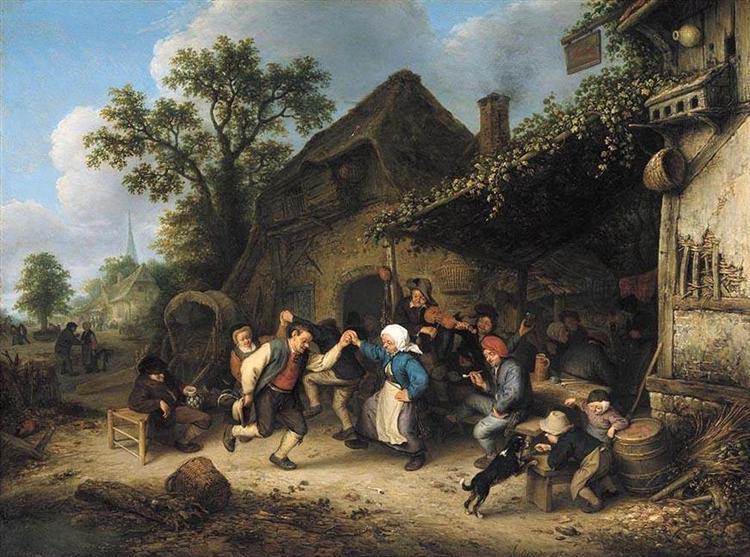 Peasants Carousing and Dancing outside an Inn, 1660 - Adriaen van Ostade