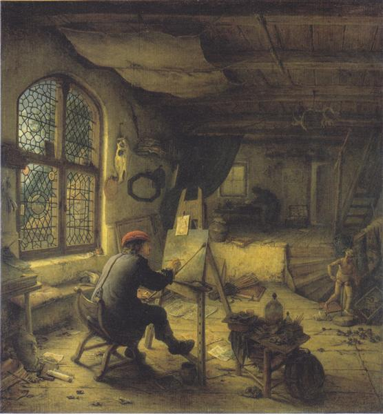 The Painter in His Workshop, 1663 - Adriaen van Ostade