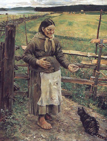 Vieille femme avec un chat, 1885 - Akseli Gallen-Kallela
