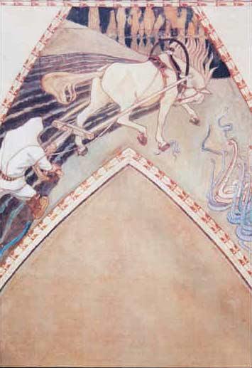 Study for the fresco 'Ilmarinen ploughing the Viper-field', 1900 - Akseli Gallen-Kallela