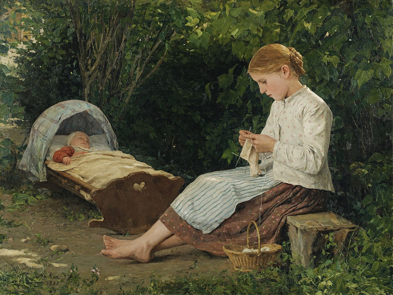 Knitting Girl Watching the Toddler in a Craddle, 1885