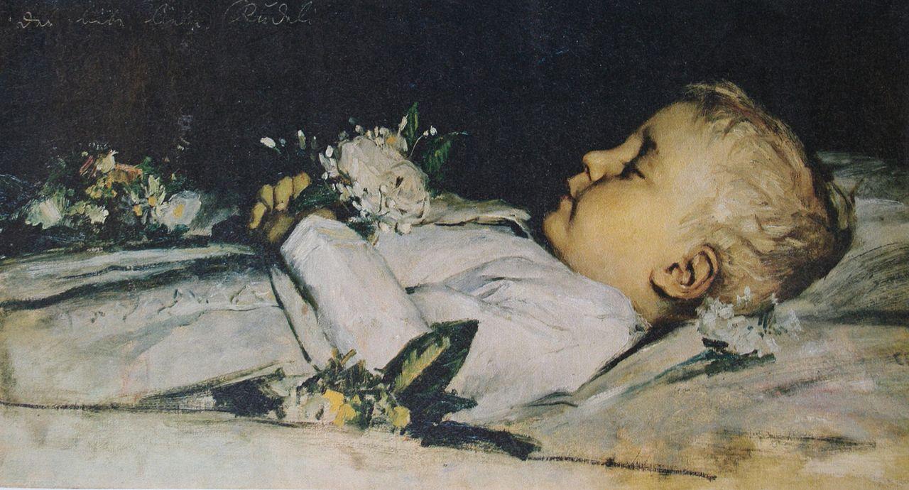 Ruedi Anker auf dem Totenbett, Sammlung Christoph Blocher, 1869