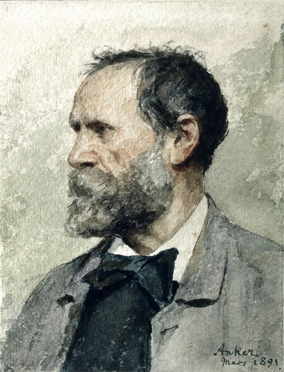 Self-portrait in profile, left, 1891