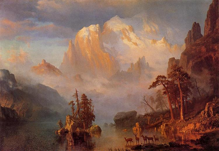 Rocky Mountains, Albert Bierstadt, 1866. Public domain.