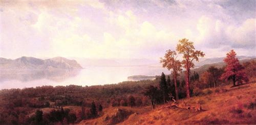 View of the Hudson Looking Across the Tappan Zee Towards Hook Mountain - Albert Bierstadt