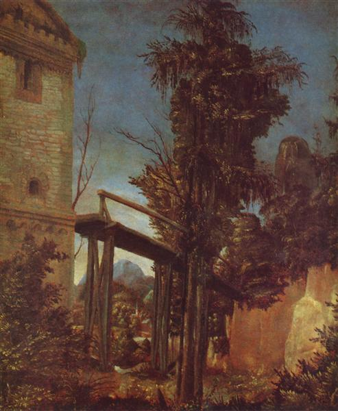 Landscape with a Footbridge, 1518 - Albrecht Altdorfer
