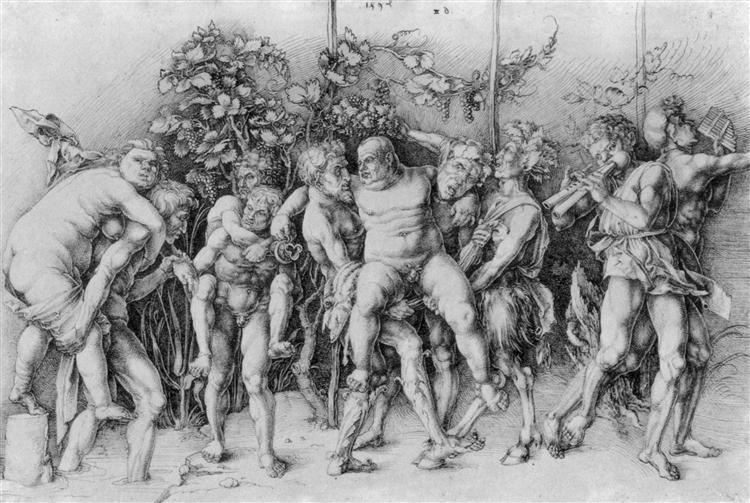 Bacchanal with Silenus, c.1481 - Albrecht Durer