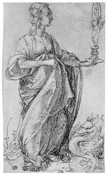 "Drawing from the ""Tarot""   Prudence, c.1495 - Albrecht Durer"