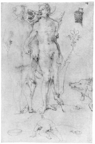 Study Journal, naked couple and the Devil, 1500 - Albrecht Durer