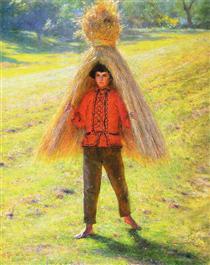 Boy Carrying a Sheaf - Aleksander Gierymski