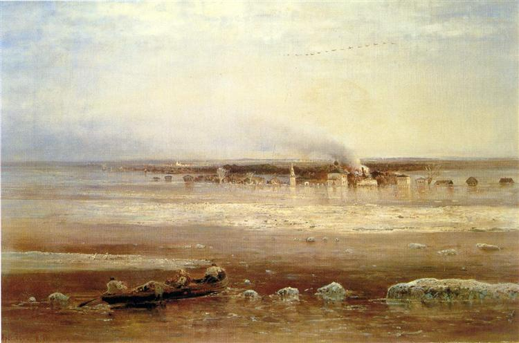 Flooding of the Volga river near Yaroslavl, 1871 - Aleksey Savrasov