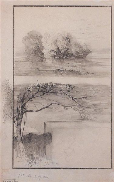 Trees near the water. Branches of trees, c.1870 - Alexei Kondratjewitsch Sawrassow