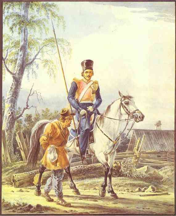 A Mounted Cossack Escorting a Peasant, 1825