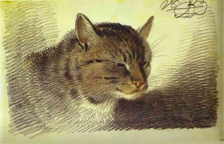 Head of a Cat, 1823 - Alexander Orlowski