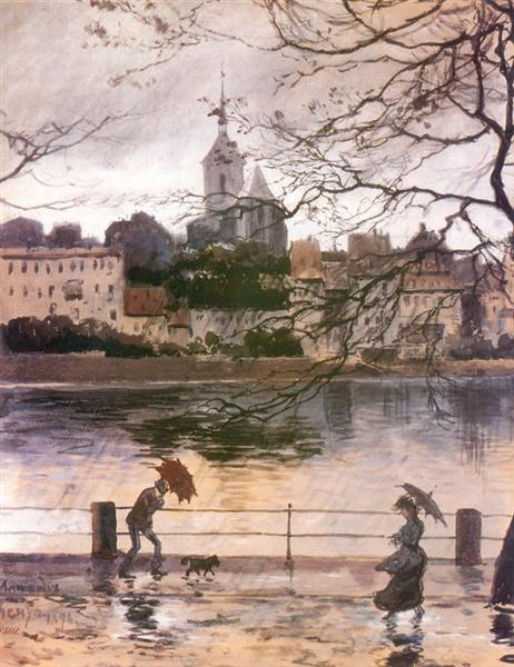 Ray Embankment in Basel in the rain, 1896 - Alexandre Benois