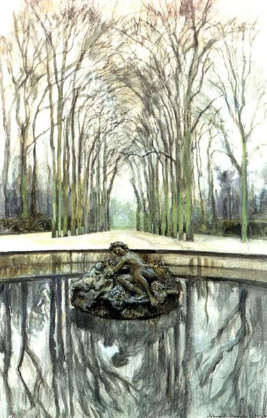 Versailles. Fountain of Bacchus in the winter, 1905 - Alexandre Benois