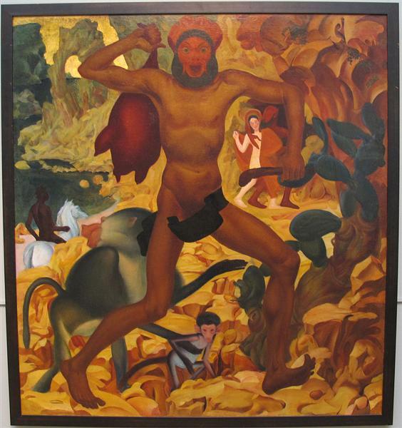 Man With a Monkey, 1915 - Alexander Jewgenjewitsch Jakowlew