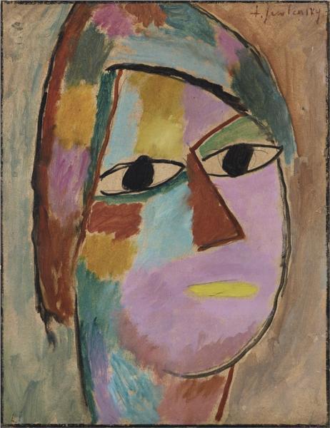 Mystischer Kopf: Frauenkopf - gelber Mund, 1917 - Alexej von Jawlensky