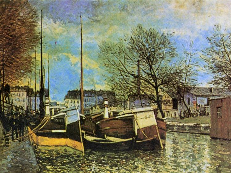 Barges on the Saint Martin Canal, c.1872 - Alfred Sisley