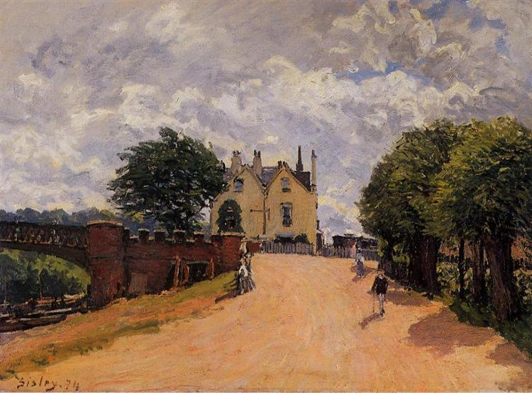 Inn at East Molesey with Hampton Court Bridge, 1874 - Alfred Sisley