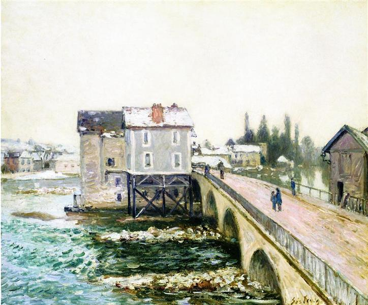The Bridge and Mills of Moret, Winter s Effect, 1890 - Alfred Sisley
