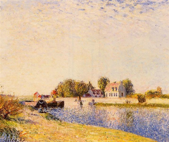 The Dam on the Loing Barges, 1885 - Alfred Sisley