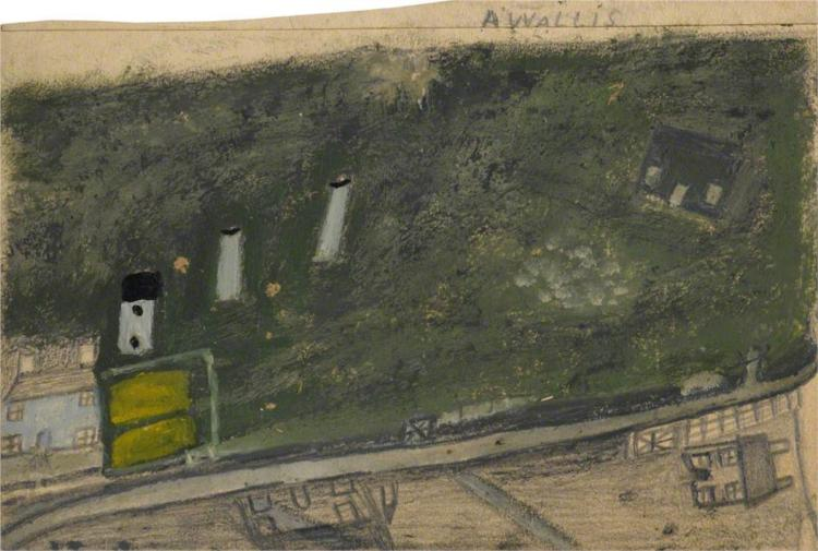 Landscape with Field, Chimneys and Road between Blue and Dark Green Cottages (Consols Mine), 1936 - Alfred Wallis