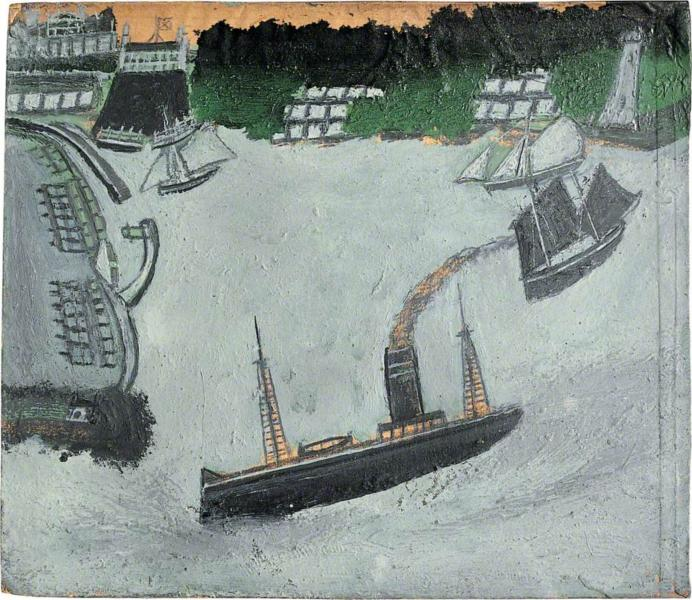 St Ives harbour and Godrevy, 1938 - Alfred Wallis