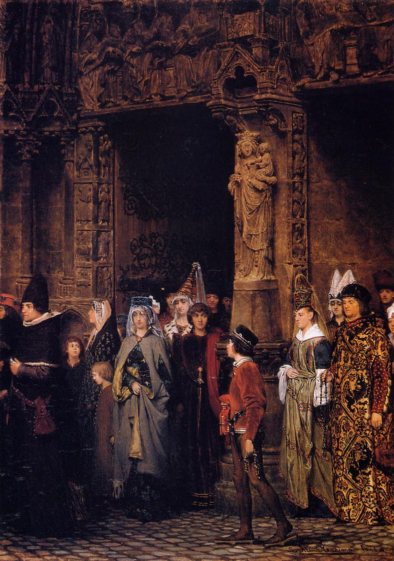 Leaving Church in the Fifteenth Century, 1864